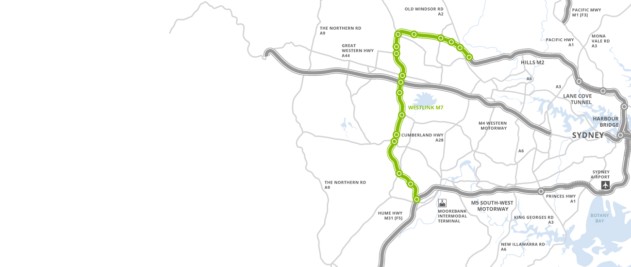 Map of Westlink M7 and Syndey toll road network